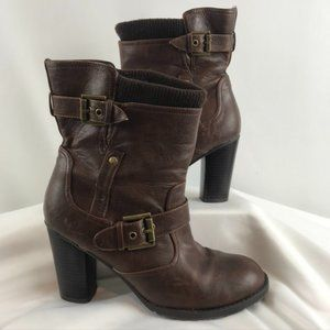 Guess Dark Brown Leather Ankle Booties